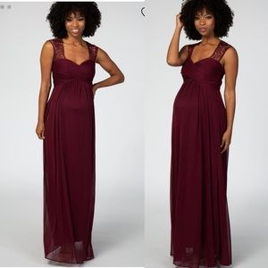 Pinkblush Burgundy Lace Maternity Evening Gown